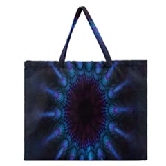 Exploding Flower Tunnel Nature Amazing Beauty Animation Blue Purple Zipper Large Tote Bag by Mariart