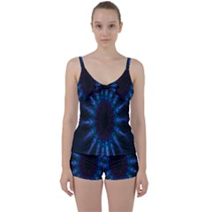 Exploding Flower Tunnel Nature Amazing Beauty Animation Blue Purple Tie Front Two Piece Tankini by Mariart