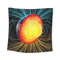 Cross Section Earth Field Lines Geomagnetic Hot Square Tapestry (small) by Mariart