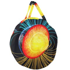 Cross Section Earth Field Lines Geomagnetic Hot Giant Round Zipper Tote