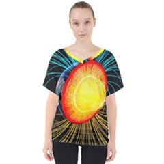 Cross Section Earth Field Lines Geomagnetic Hot V Neck Dolman Drape Top