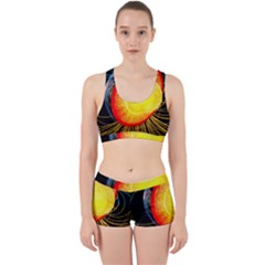 Cross Section Earth Field Lines Geomagnetic Hot Work It Out Sports Bra Set by Mariart