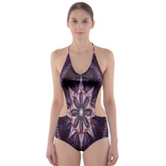 Flower Twirl Star Space Purple Cut Out One Piece Swimsuit