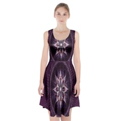 Flower Twirl Star Space Purple Racerback Midi Dress