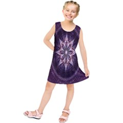 Flower Twirl Star Space Purple Kids  Tunic Dress by Mariart