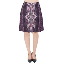 Flower Twirl Star Space Purple Velvet High Waist Skirt by Mariart