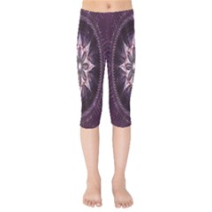 Flower Twirl Star Space Purple Kids  Capri Leggings  by Mariart