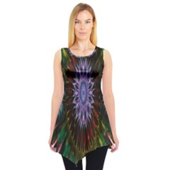 Flower Stigma Colorful Rainbow Animation Gold Space Sleeveless Tunic by Mariart