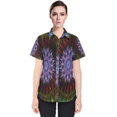 Flower Stigma Colorful Rainbow Animation Gold Space Women s Short Sleeve Shirt by Mariart