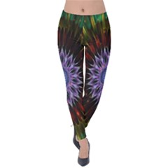 Flower Stigma Colorful Rainbow Animation Gold Space Velvet Leggings by Mariart