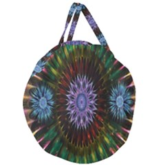 Flower Stigma Colorful Rainbow Animation Gold Space Giant Round Zipper Tote by Mariart