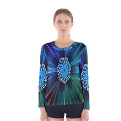 Flower Stigma Colorful Rainbow Animation Space Women s Long Sleeve Tee by Mariart