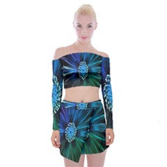 Flower Stigma Colorful Rainbow Animation Space Off Shoulder Top With Skirt Set