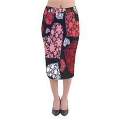 Floral Flower Heart Valentine Velvet Midi Pencil Skirt