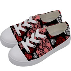 Floral Flower Heart Valentine Kids  Low Top Canvas Sneakers by Mariart
