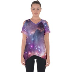 Galaxy Space Star Light Purple Cut Out Side Drop Tee