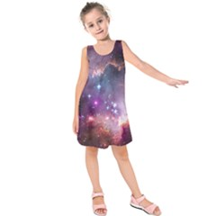 Galaxy Space Star Light Purple Kids  Sleeveless Dress by Mariart