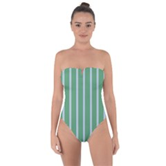 Green Line Vertical Tie Back One Piece Swimsuit