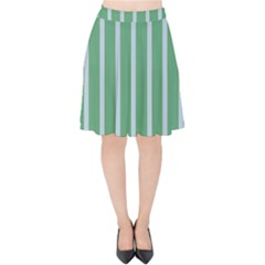 Green Line Vertical Velvet High Waist Skirt by Mariart