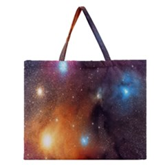 Galaxy Space Star Light Zipper Large Tote Bag by Mariart