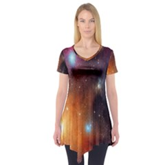 Galaxy Space Star Light Short Sleeve Tunic  by Mariart