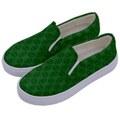 Green Seed Polka Kids  Canvas Slip Ons by Mariart