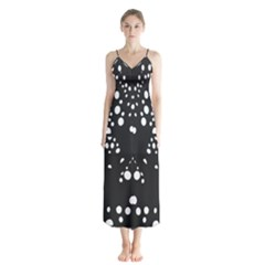 Helmet Original Diffuse Black White Space Button Up Chiffon Maxi Dress by Mariart