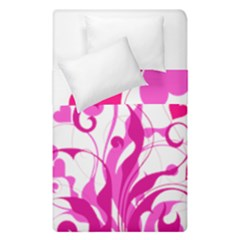 Heart Flourish Pink Valentine Duvet Cover Double Side (single Size) by Mariart
