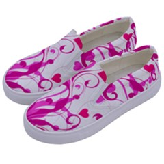 Heart Flourish Pink Valentine Kids  Canvas Slip Ons by Mariart