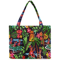 Hawaiian Girls Black Flower Floral Summer Mini Tote Bag