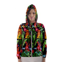 Hawaiian Girls Black Flower Floral Summer Hooded Wind Breaker (women)
