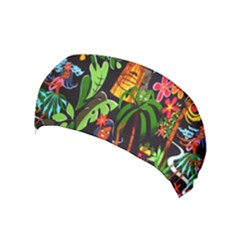 Hawaiian Girls Black Flower Floral Summer Yoga Headband by Mariart