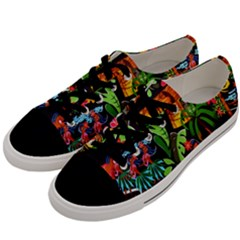 Hawaiian Girls Black Flower Floral Summer Men s Low Top Canvas Sneakers by Mariart