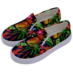 Hawaiian Girls Black Flower Floral Summer Kids  Canvas Slip Ons by Mariart