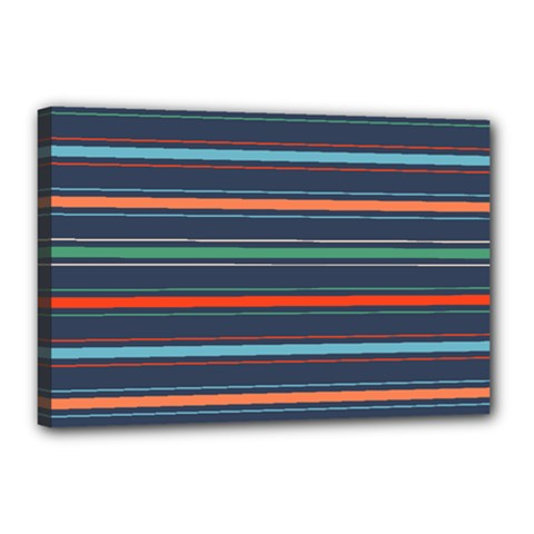 Horizontal Line Blue Green Canvas 18  X 12  by Mariart