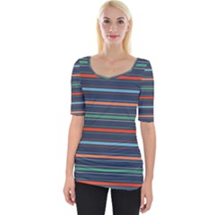 Horizontal Line Blue Green Wide Neckline Tee by Mariart
