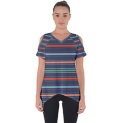 Horizontal Line Blue Green Cut Out Side Drop Tee by Mariart