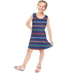 Horizontal Line Blue Green Kids  Tunic Dress by Mariart