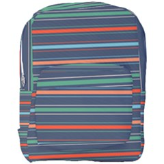Horizontal Line Blue Green Full Print Backpack by Mariart