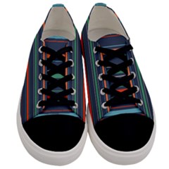 Horizontal Line Blue Green Men s Low Top Canvas Sneakers