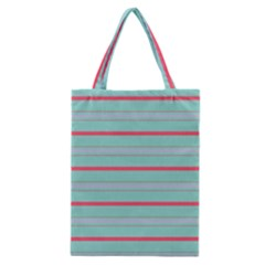 Horizontal Line Blue Red Classic Tote Bag by Mariart