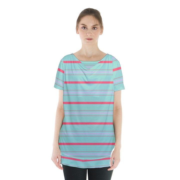 Horizontal Line Blue Red Skirt Hem Sports Top