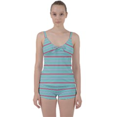 Horizontal Line Blue Red Tie Front Two Piece Tankini