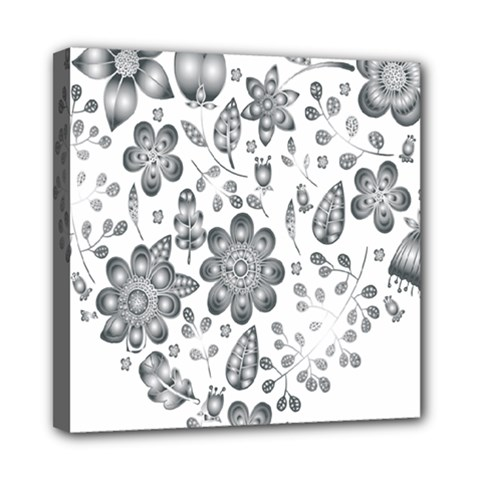 Grayscale Floral Heart Background Mini Canvas 8  X 8