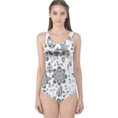 Grayscale Floral Heart Background One Piece Swimsuit