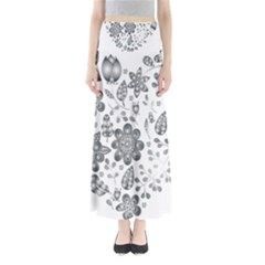 Grayscale Floral Heart Background Full Length Maxi Skirt by Mariart