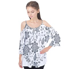 Grayscale Floral Heart Background Flutter Tees by Mariart
