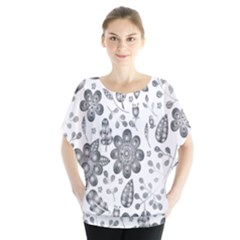 Grayscale Floral Heart Background Blouse by Mariart