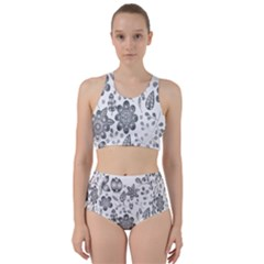 Grayscale Floral Heart Background Racer Back Bikini Set by Mariart