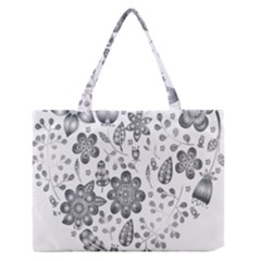 Grayscale Floral Heart Background Zipper Medium Tote Bag